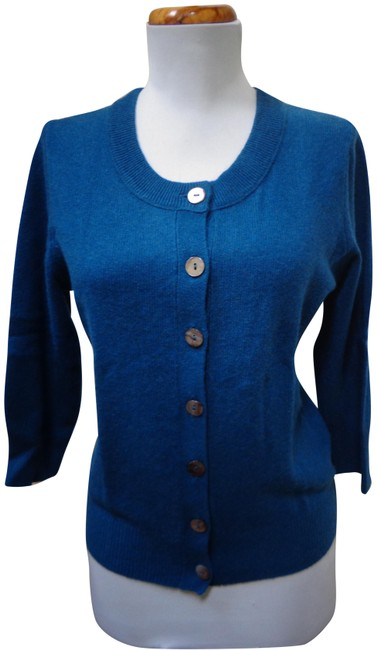 Item - Teal Blue Cashmere Button Front 3/4 Sleeve Cardigan/Sweater Cardigan Size 8 (M)