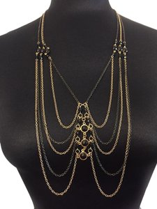 BCBGeneration toned CHAIN layered tiered body chain black gem beaded
