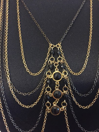 BCBGeneration toned CHAIN layered tiered body chain black gem beaded Image 1