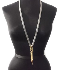 BCBGeneration toned mixed metal gold toned LONG FRINGE CHAIN NECKLACE PENDANT