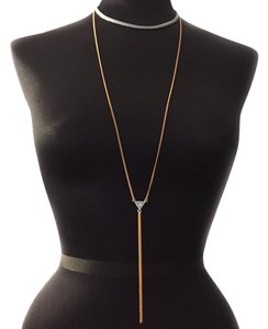 BCBGeneration toned mixed metal silver Y DAINTY NECKLACE FRINGE layered tiered