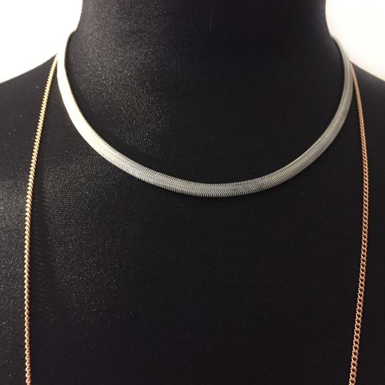 BCBGeneration toned mixed metal silver Y DAINTY NECKLACE FRINGE layered tiered Image 1