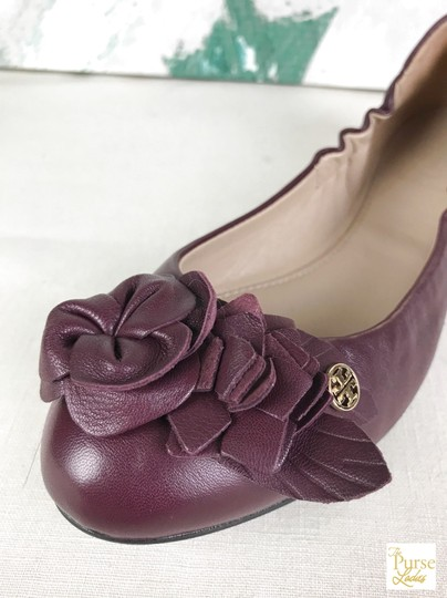 Tory Burch Maroon Blossom 6.5 Women's Red Flats Image 4