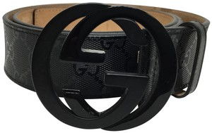 Gucci Black GG monogram belt with black buckle