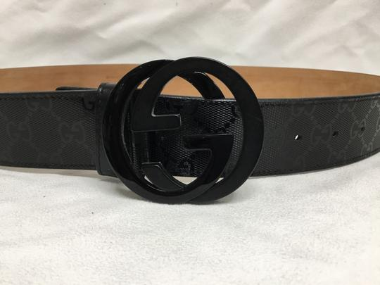 Gucci Black GG monogram belt with black buckle Image 1