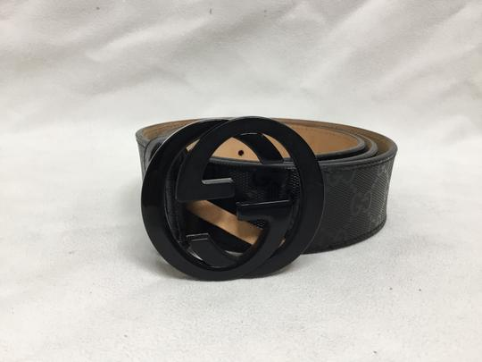 Gucci Black GG monogram belt with black buckle Image 2