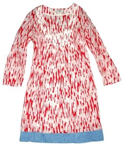 Boden short dress Red 3/4 Sleeve Stitched Details Color-blocking Tunic Pullover on Tradesy