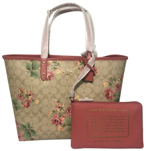 Coach Tote in pink with lily floral pattern