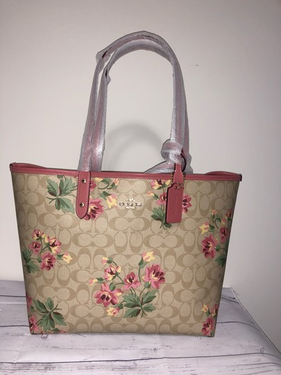 Coach Tote in pink with lily floral pattern Image 6