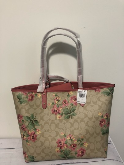Coach Tote in pink with lily floral pattern Image 7