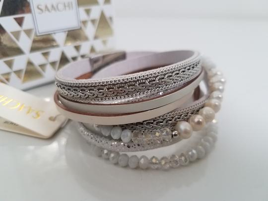SAACHI Leather Crystal, Pearl and Chain Image 1