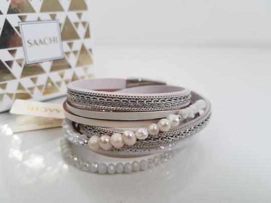 SAACHI Leather Crystal, Pearl and Chain Image 2