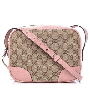 Gucci Chic Leather Canvas Shoulder Gold Hardware Cross Body Bag