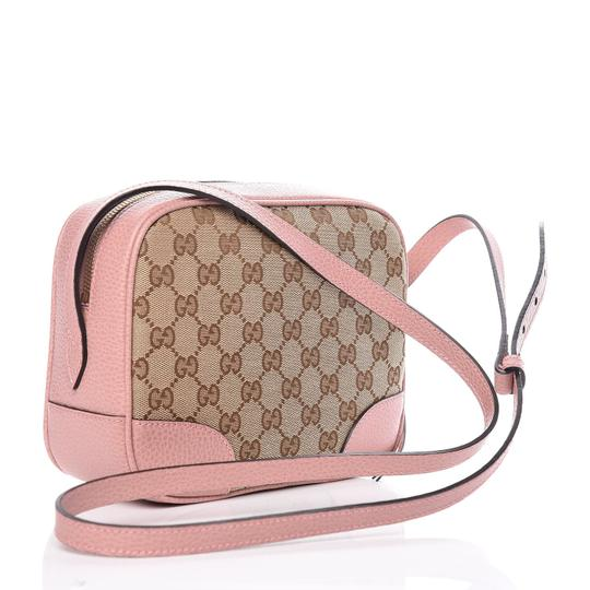 Gucci Chic Leather Canvas Shoulder Gold Hardware Cross Body Bag Image 2