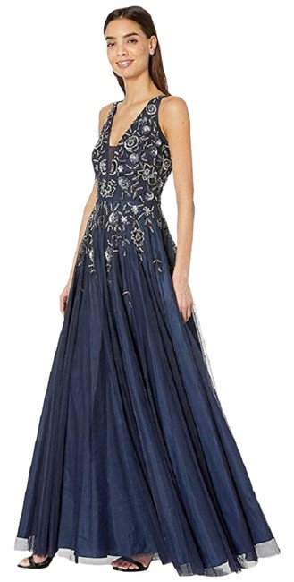 Preload https://img-static.tradesy.com/item/26118354/adrianna-papell-navy-beaded-tulle-gown-long-formal-dress-size-8-m-0-1-650-650.jpg