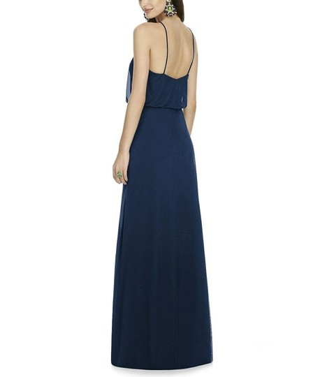 Alfred Sung Midnight (Dark Navy Blue) Chiffon Style D738 Is A Floor Length Knit Formal Bridesmaid/Mob Dress Size 16 (XL, Plus 0x) Image 1