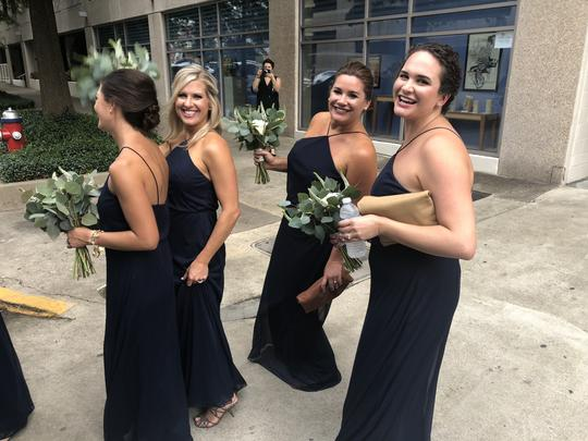 Alfred Sung Midnight (Dark Navy Blue) Chiffon Style D738 Is A Floor Length Knit Formal Bridesmaid/Mob Dress Size 16 (XL, Plus 0x) Image 2