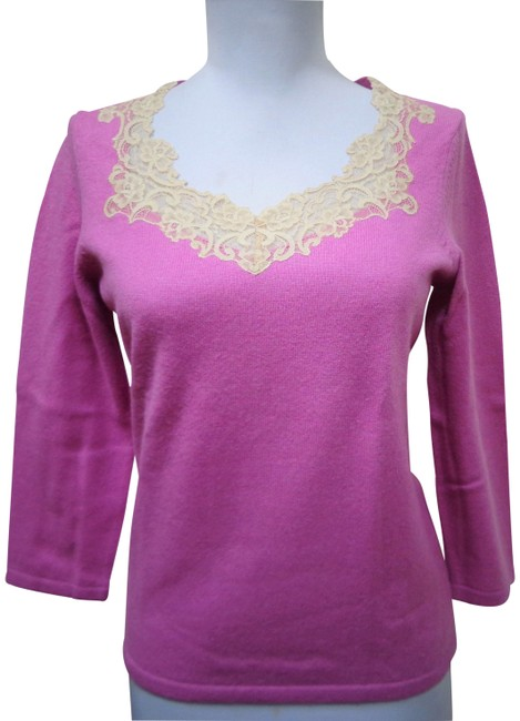 Preload https://img-static.tradesy.com/item/26118438/ann-taylor-cashmere-scooped-neck-size-s-pink-sweater-0-2-650-650.jpg