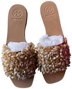 Tory Burch Vacation Shiny Sparkle Sexy Beige Sandals