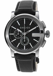 Gucci Gucci G-Chrono Chronograph Black PVD Bezel Leather YA101205 44m Watch