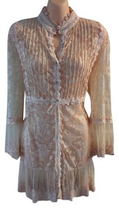 PASSION CONCEPTS Vintage Casual Lace Trim Top Neutral