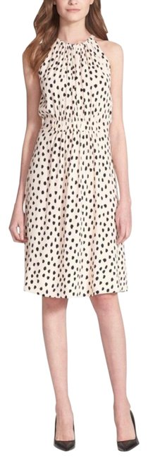 Item - Black and Cream Leopard Dot Tie Dress/ Take A Walk On The Wild Shell Mid-length Cocktail Dress Size 0 (XS)