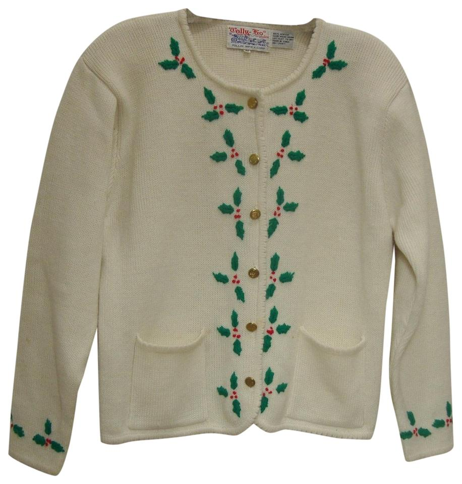 Vintage Christmas Sweaters.Tally Ho Vintage Christmas Holly Embellished Cardigan White Red Green Sweater 22 Off Retail