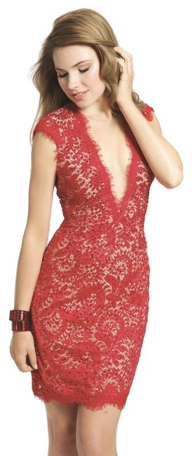 Item - Red 20090 Mid-length Cocktail Dress Size 4 (S)