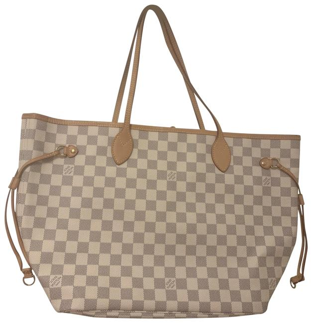 Item - Neverfull Mm N41361 White Leather Tote