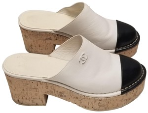 Chanel Platform Cork White, Black Mules