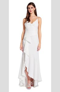 Adrianna Papell White Polyester High Low with Ruffled Skirt Modern Wedding Dress Size 0 (XS)