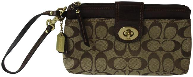 Item - Clutch Tan Logo Brown Canvas Wristlet