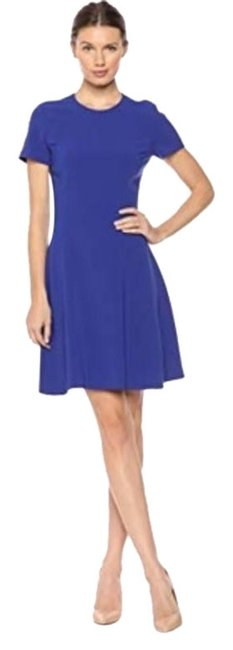 Item - Blue Crepe Modern Seamed Shift Cosmic Mid-length Work/Office Dress Size 10 (M)