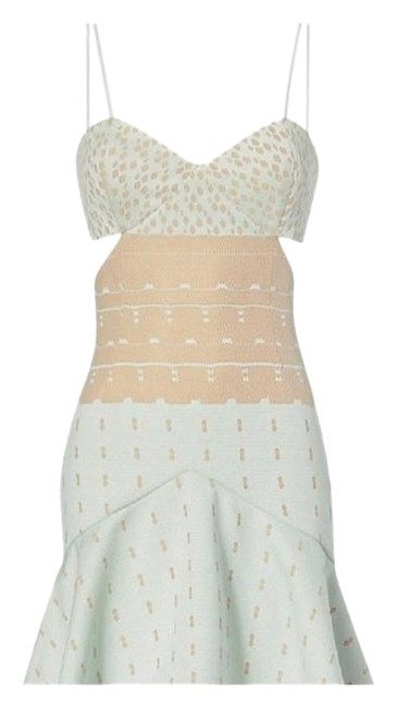 Item - Mint And Nude Cutout Fit and Flare Mid-length Cocktail Dress Size 8 (M)