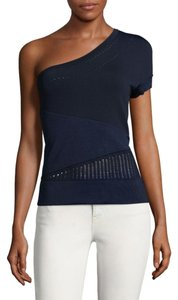 Ohne Titel Knit Embroidered One Shoulder Top Navy