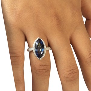 Gems'B Marquise Natural Lolite White Gold Plated Over Sterling Silver