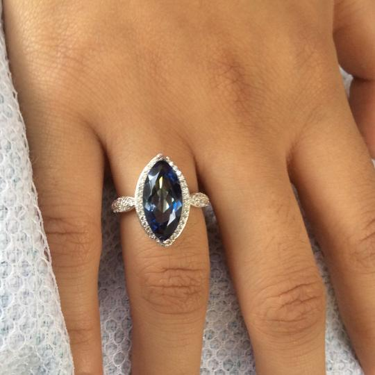 Gems'B Marquise Natural Lolite White Gold Plated Over Sterling Silver Image 3