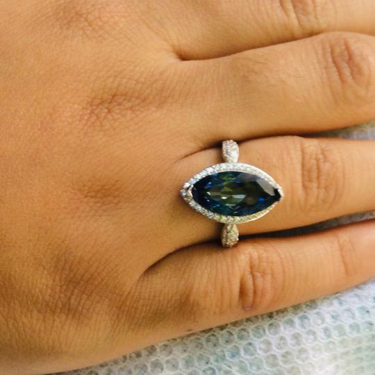 Gems'B Marquise Natural Lolite White Gold Plated Over Sterling Silver Image 4
