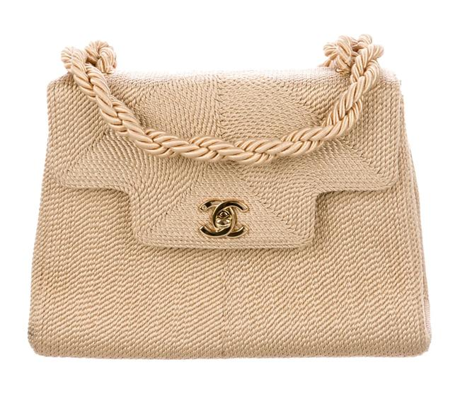 Chanel Classic Flap Vintage Woven Organic Nude Beige Raffia Cloth Blend Cross Body Bag Chanel Classic Flap Vintage Woven Organic Nude Beige Raffia Cloth Blend Cross Body Bag Image 1