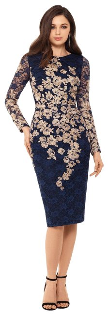 Item - Navy/Gold Embroidered Lace Sheath Navy/Gold Mid-length Formal Dress Size 8 (M)