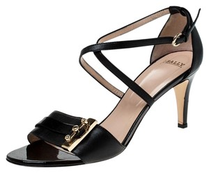 Bally Leather Open Toe Ankle Strap Black Sandals