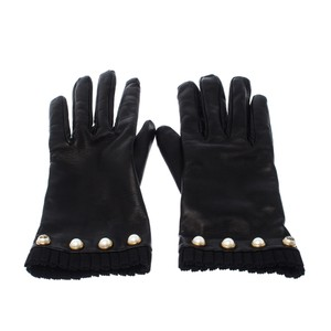 Gucci Gucci Black Leather Faux-Pearl Gloves