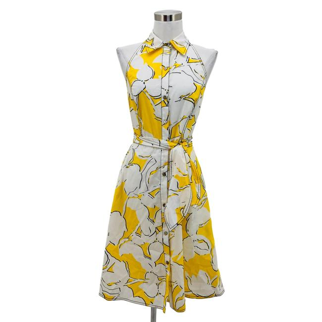 Item - Yellow White N390 Designer Small Mid-length Cocktail Dress Size 4 (S)