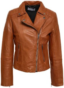 Muubaa Biker Designer Camel Leather Jacket
