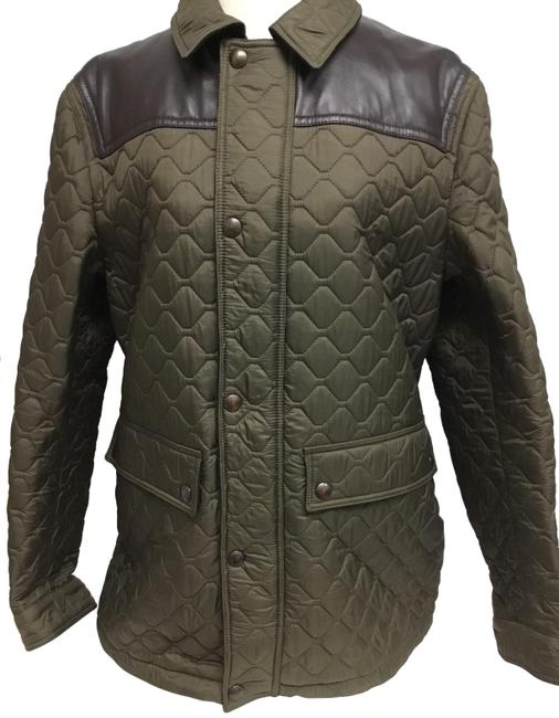 Item - Olive Quilted Rain Jacket with Brown Leather Trim Coat Size 14 (L)