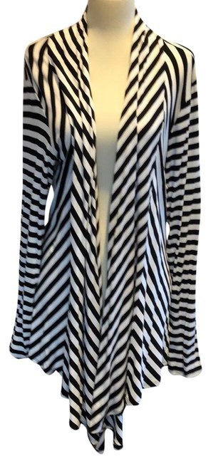 Item - Black and White Striped Rayon Open Shawl Cardigan Size 8 (M)