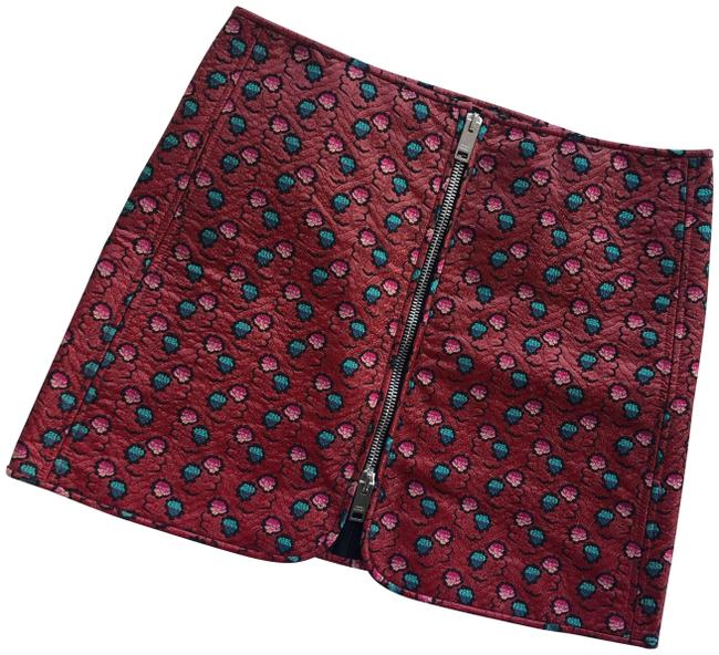 Item - Red Black Green Heina Embroidered Lurex Detail Jacquard Skirt Size 10 (M, 31)