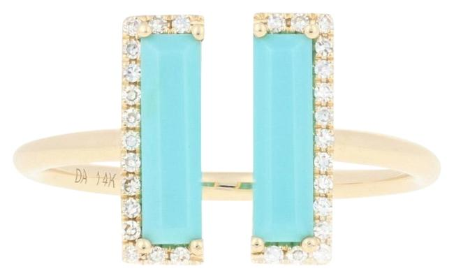 Item - Yellow New Rectangle Cut Turquoise & Diamond Open 14k Gold E5633 Ring