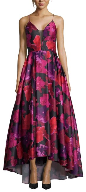 Item - Black/Red/Hot Magenta Floral-print High-low Gown Black/Red/Hot Long Formal Dress Size 8 (M)