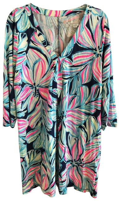 Item - Hot Pink White Navy Blue Turquoise Neon Green 29457 Mid-length Casual Maxi Dress Size 14 (L)